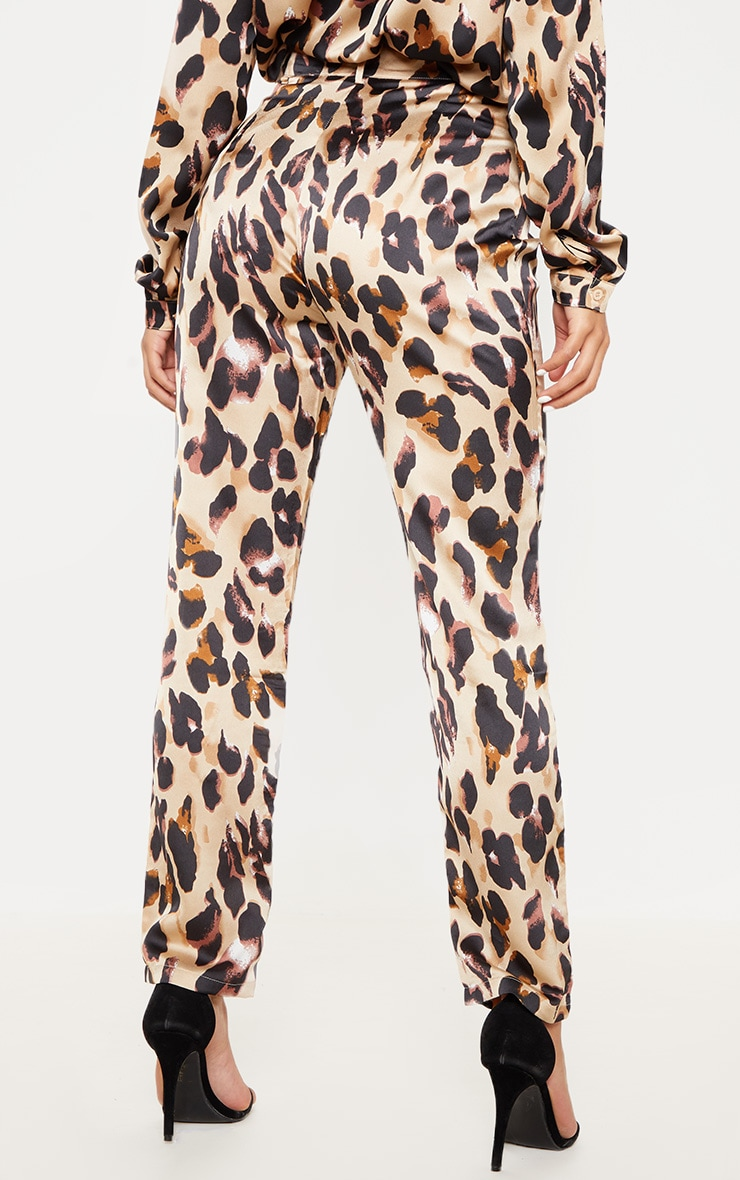 Leopard Print Satin Feel Printed Slim Leg Trouser 4