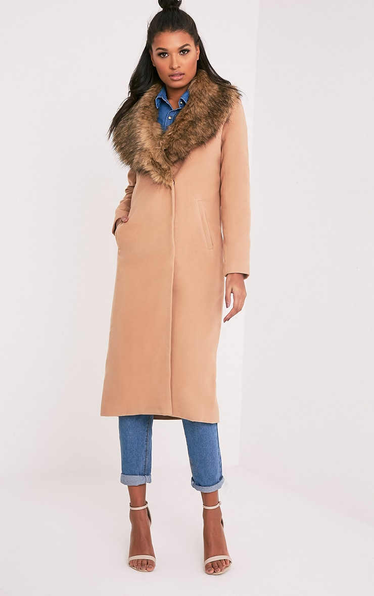 Camel Faux Fur Collar Double Breasted Coat 5