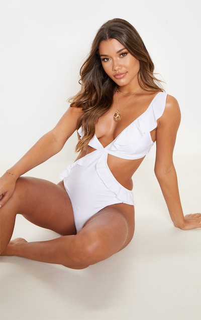 5674a07b33756 White Frill Edge Cut Out Swimsuit