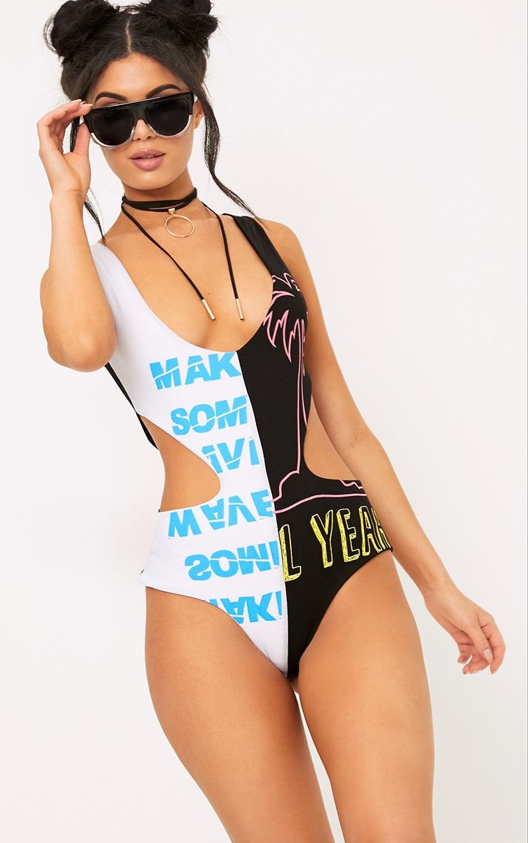 Black Cut Out Spliced Print Thong Bodysuit 1