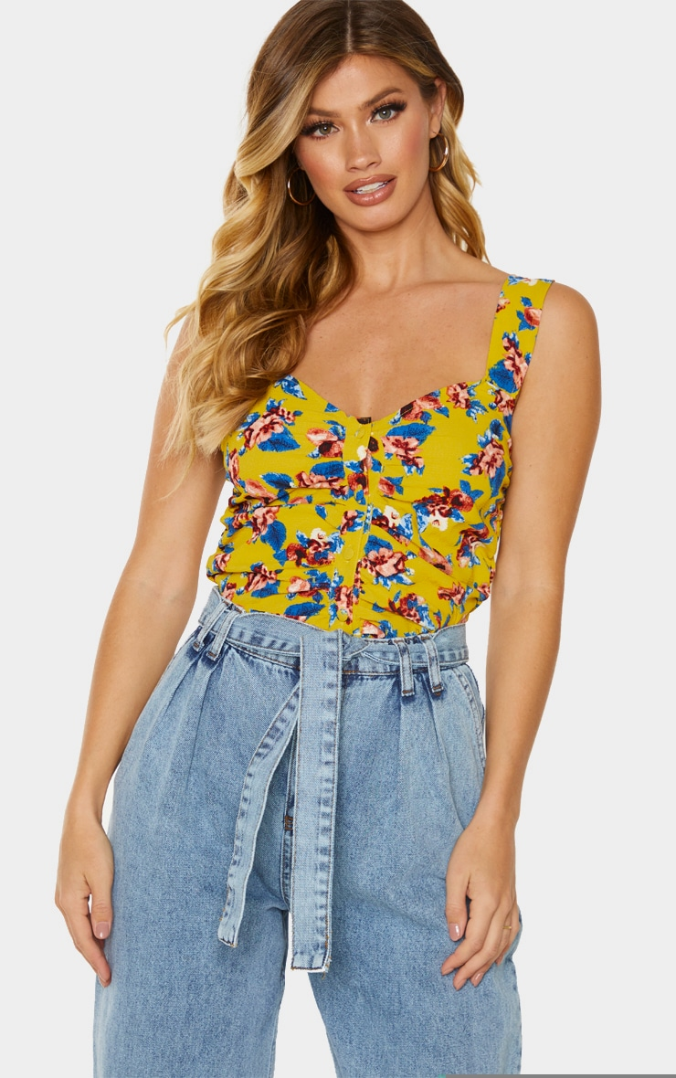 Yellow Ruched Floral Printed Cami Top 1