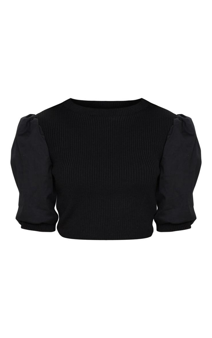 Black Poplin Sleeve Knitted Top 5