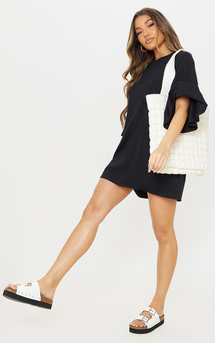 Black Cotton Short Flare Sleeve T Shirt Dress 3