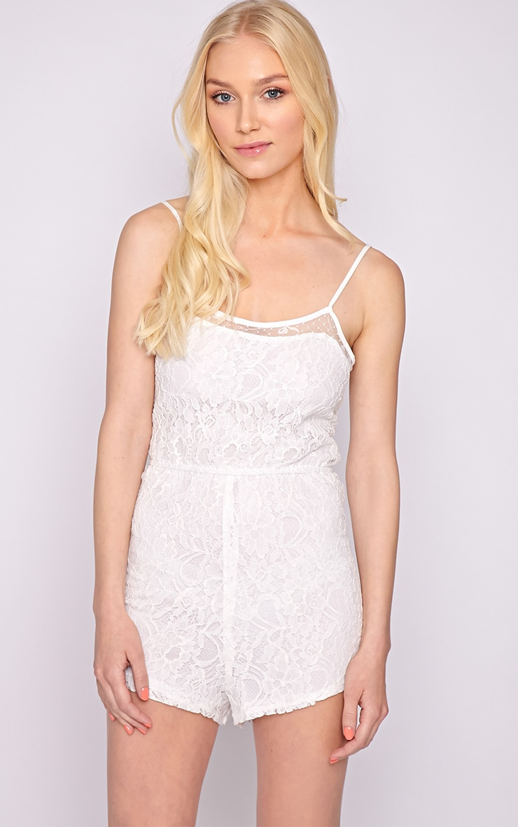 Jolie White Lace Strappy Playsuit  4