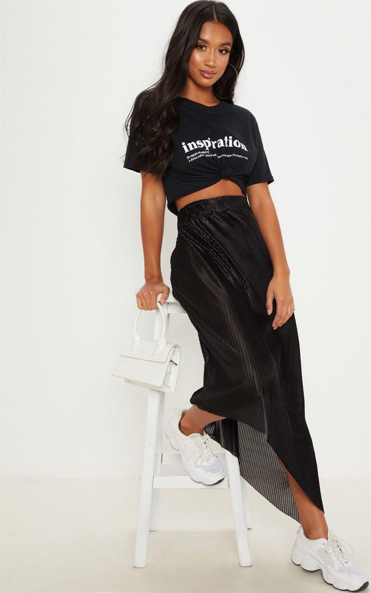 detailed look shades of new images of Petite Black Metallic Pleated Midi Skirt
