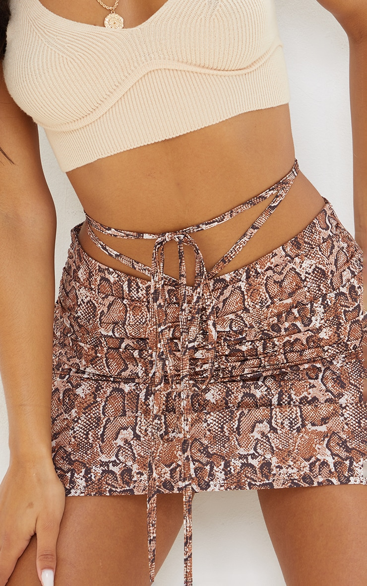 Brown Snake Ruched Front Tie Waist Mini Skirt 5