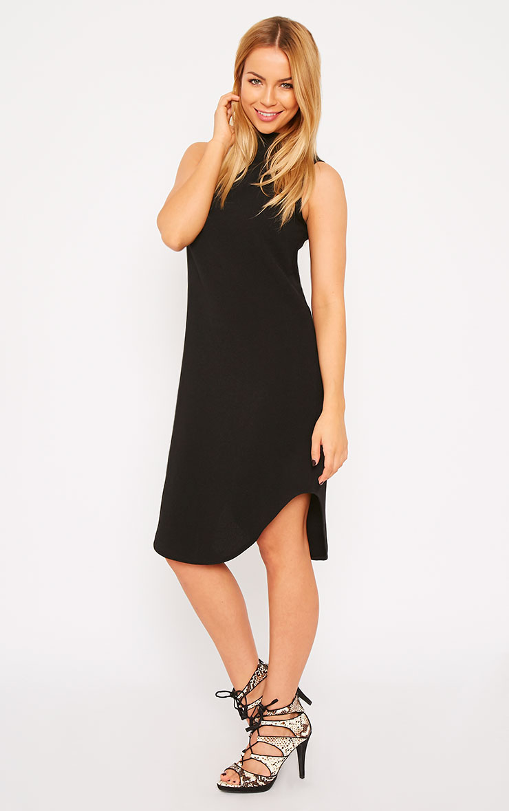 May Black Crepe High Neck Dip Hem Shift Dress 3