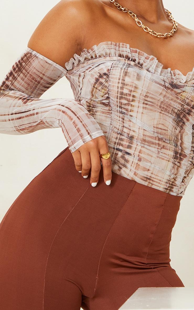 Stone  Abstract Print Mesh Ruched Bardot Bodysuit 4