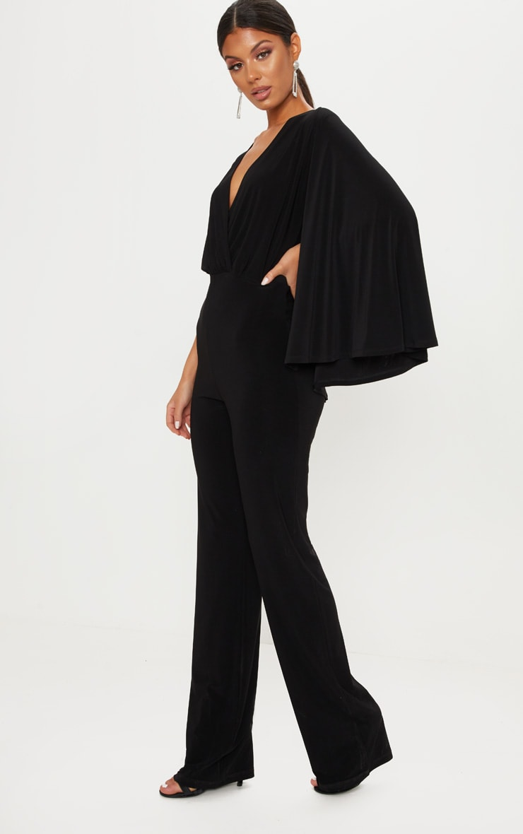 Black Plunge Cape Detail Wrap Jumpsuit 4