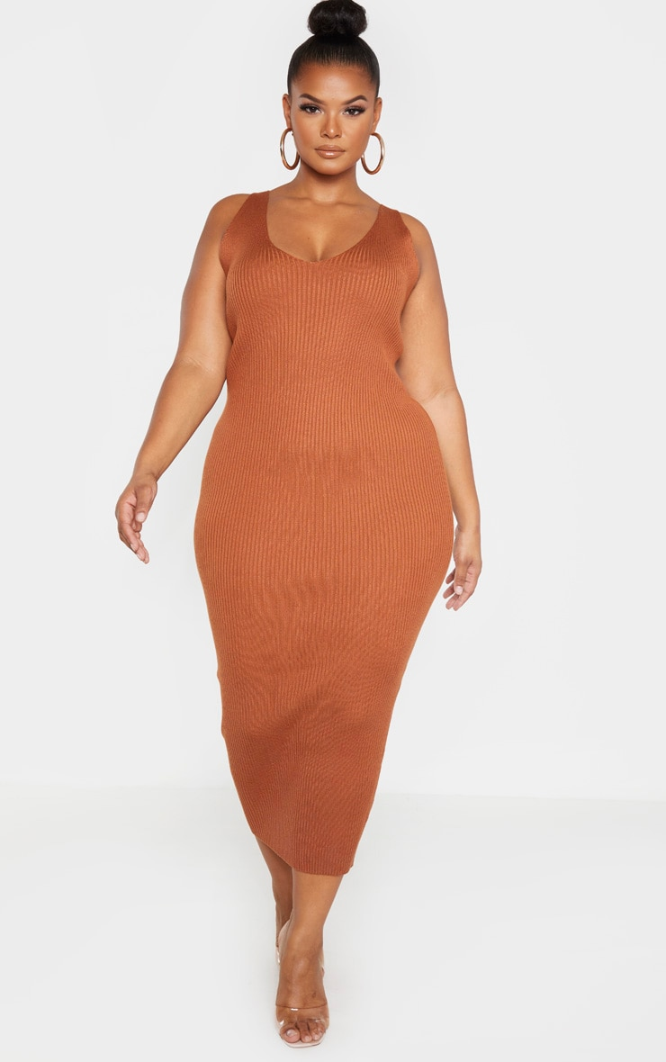 Plus Rust Knitted V Neck Midaxi Dress  1