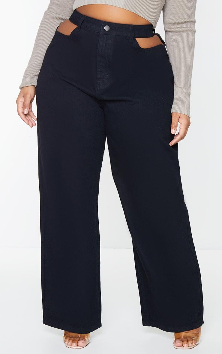 Plus Black Cut Out Denim Jeans 2