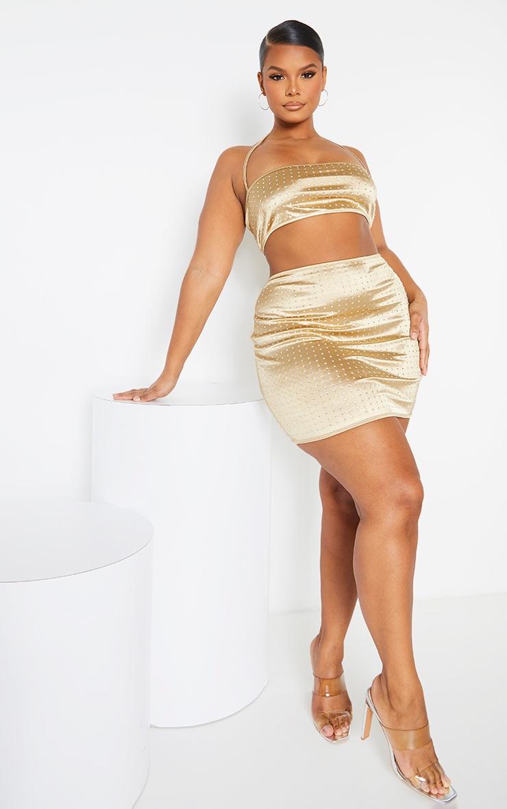 Plus Gold Disco Diamante Mini Skirt 1