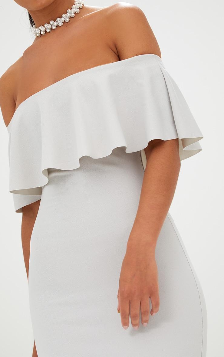 Ice Grey Bardot Frill Midi Dress  5