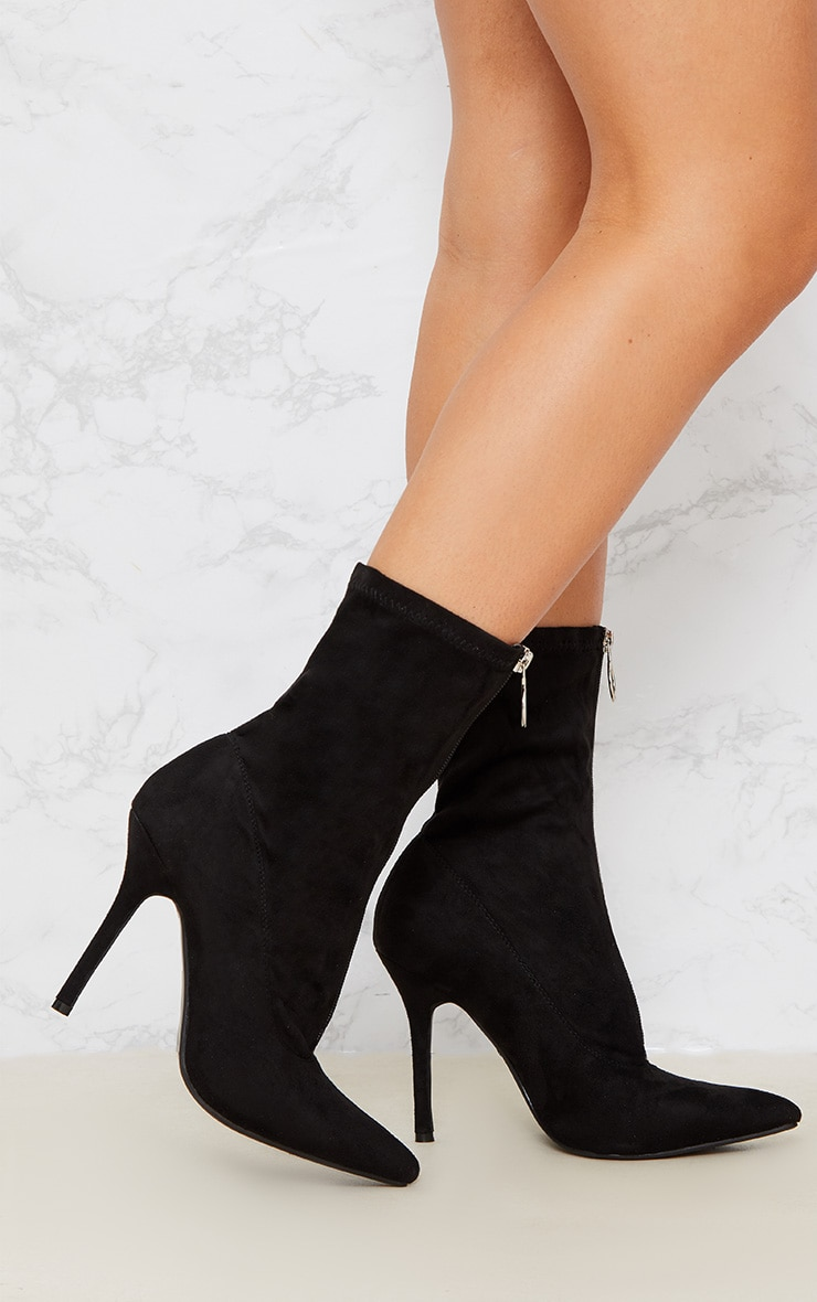 Black Zip Front Faux Suede Sock Boot