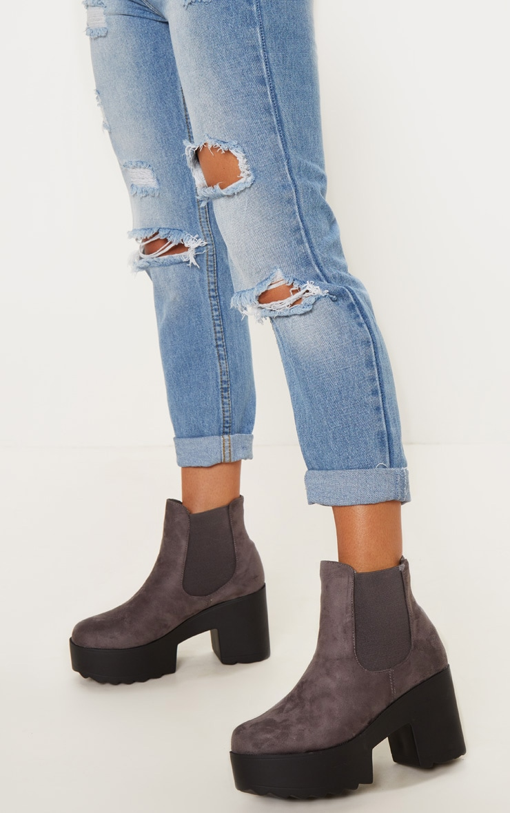 Grey Elastic Side Ankle Boot