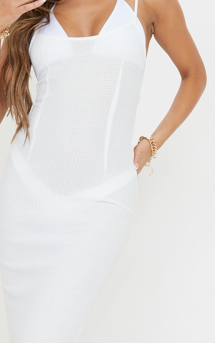 White Waffle Knit Maxi Beach Dress 4