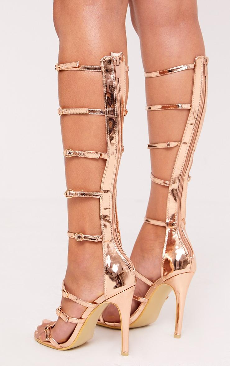 Josia sandales multi-brides or rose métallisé 4