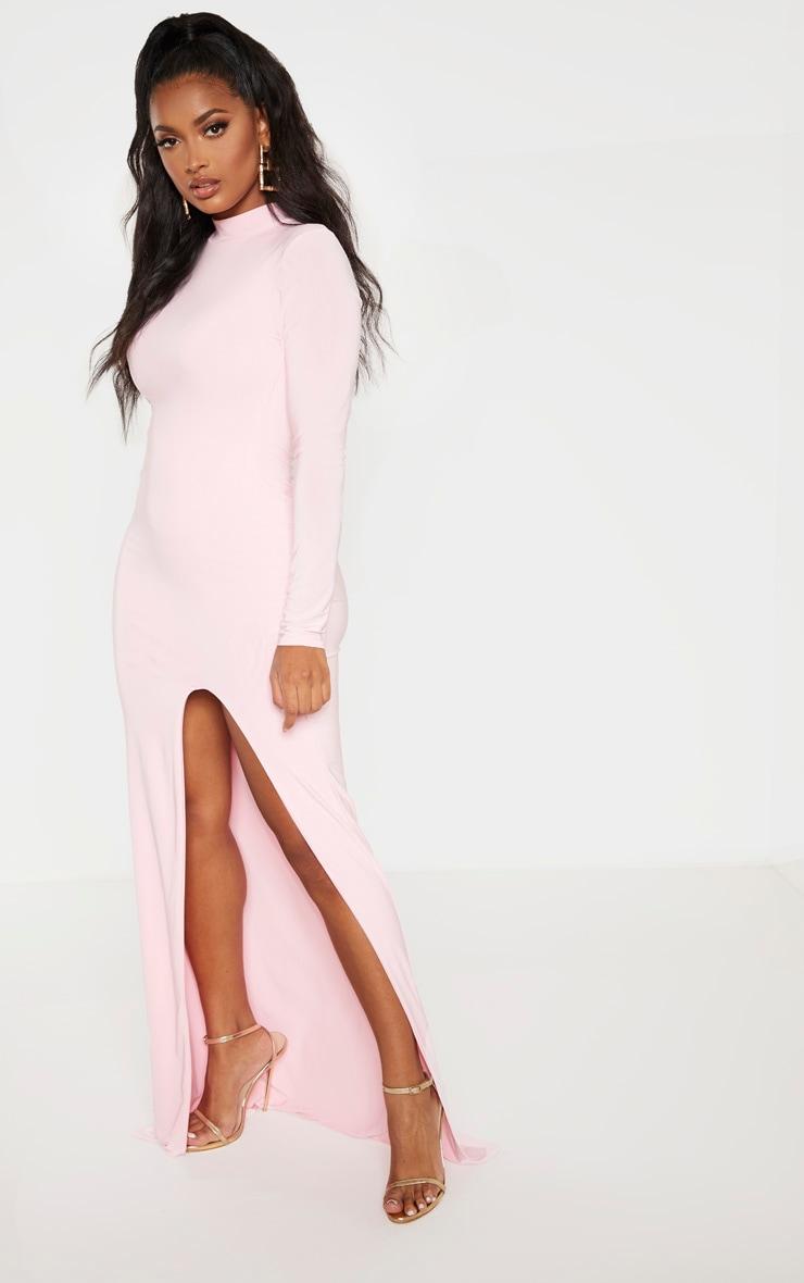 Shape Candy Pink Slinky High Neck Maxi Dress  4