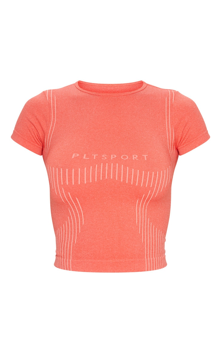 PRETTYLITTLETHING Coral Sport Seamless Contour T-Shirt 5