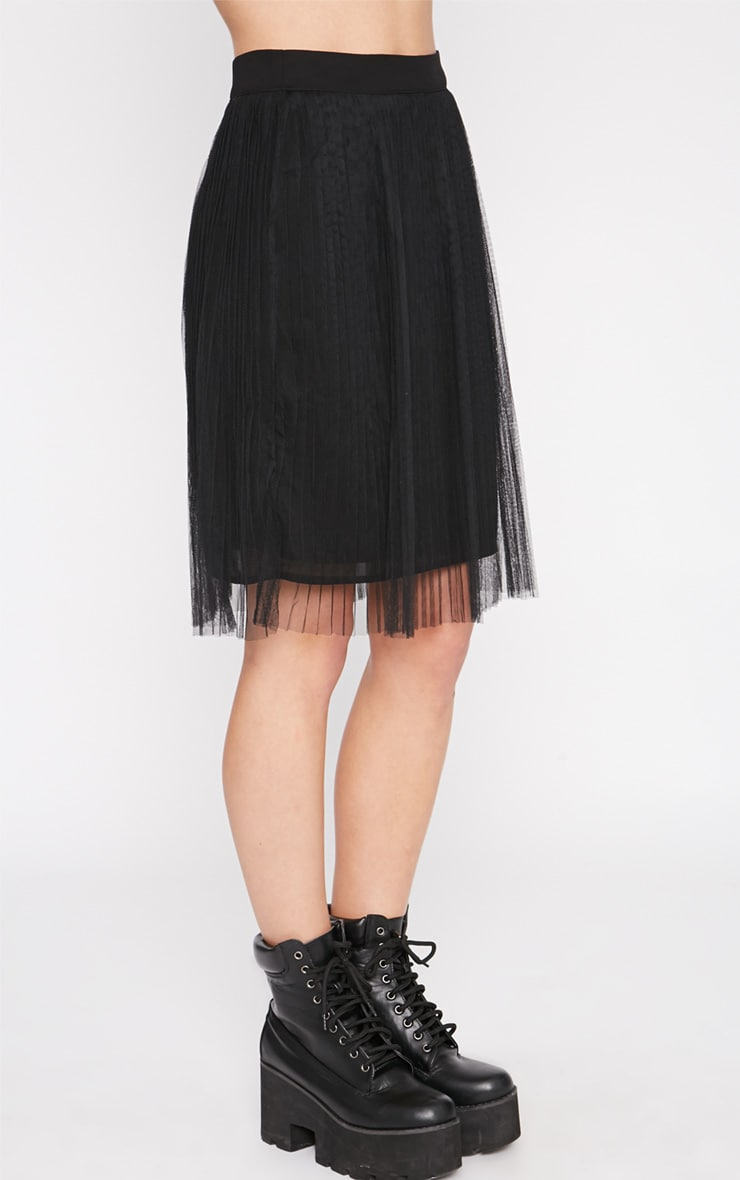 Senti Black Pleated Mesh Skirt-XS 3