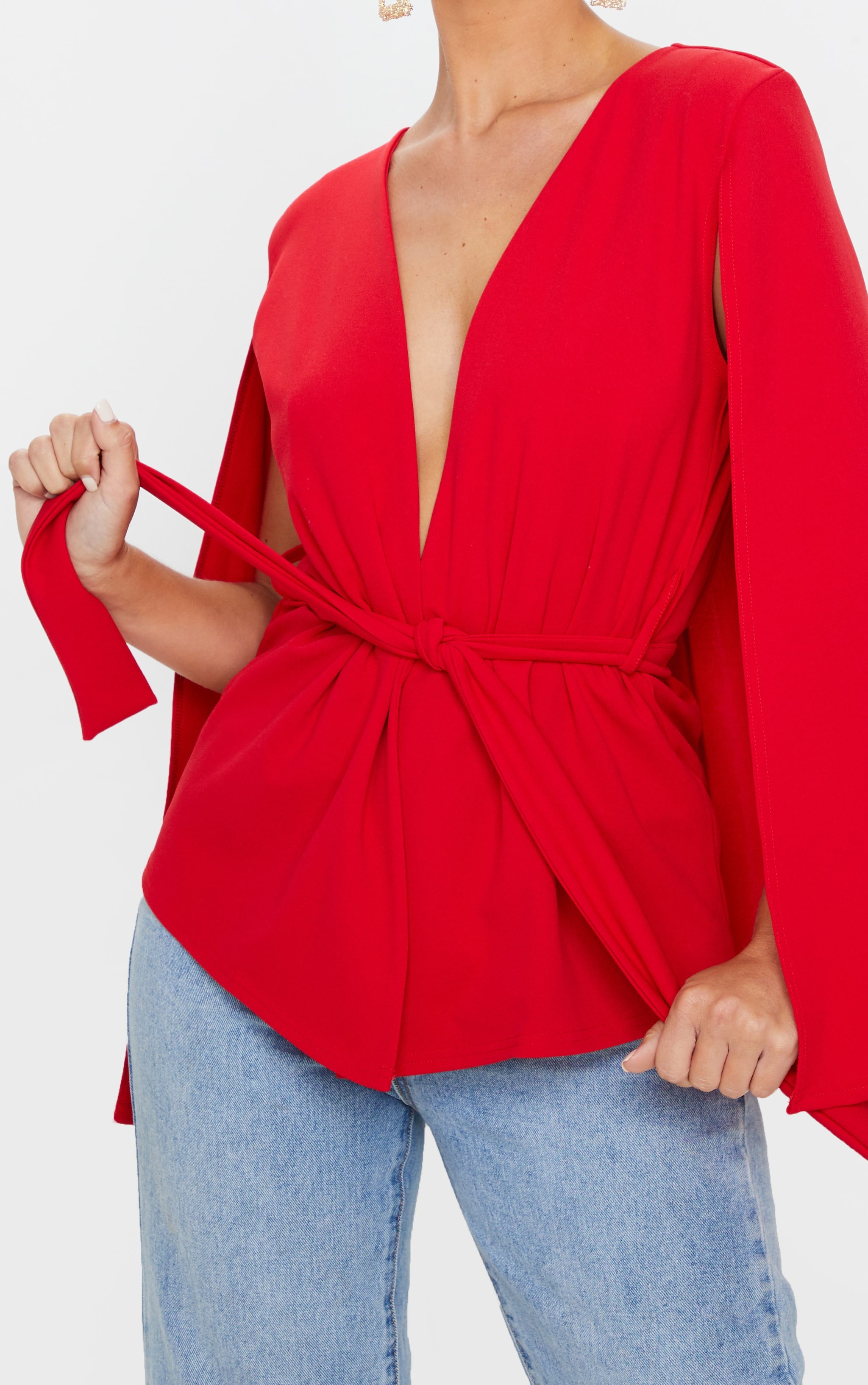Red Crepe Belted Cape Blazer 5