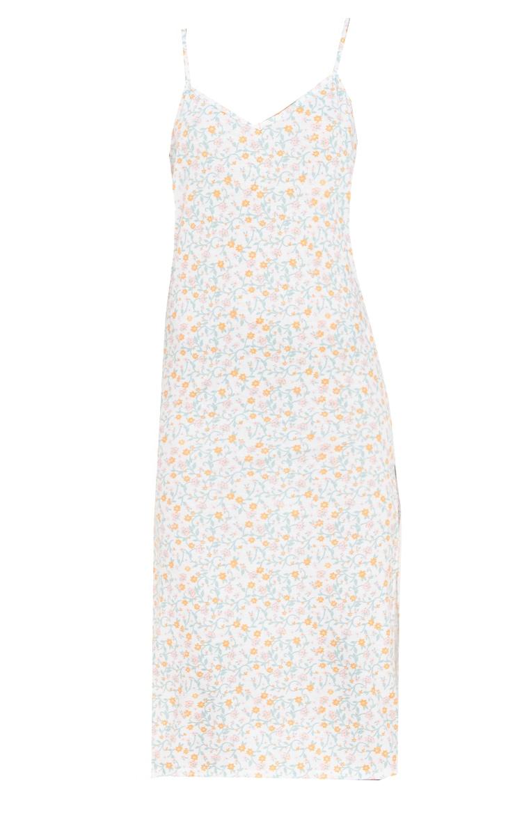 Cream Ditsy Print Jersey Split Cami Midi Dress 5