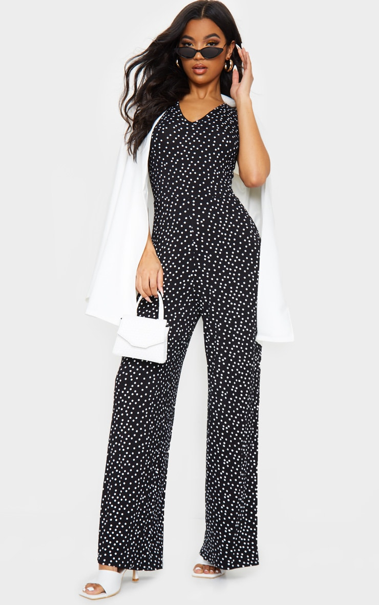 Black Polka Dot Wide Leg Jersey Jumpsuit 1