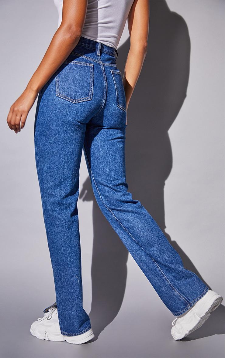 Recycled Mid Blue Wash Basic Split Hem Jeans 3