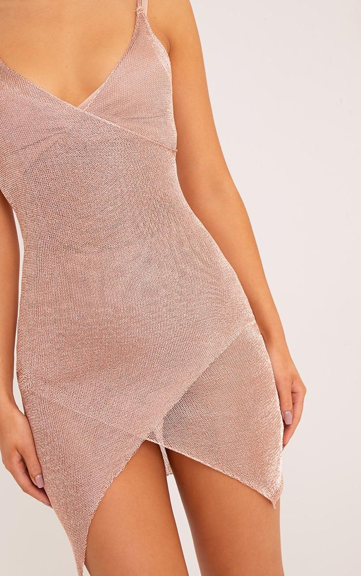 Yazminda Rose Gold Wrap Knitted Metallic Mini Dress 5