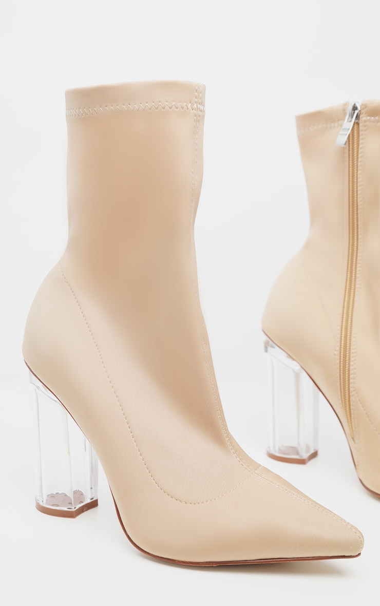 Nude Clear High Heel Sock Boot 3