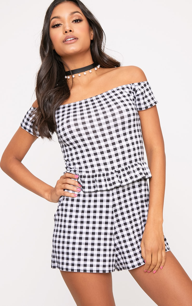 Black Gingham Frill Middle Playsuit  4