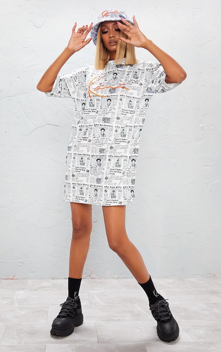 KARL KANI Monochrome Newspaper Print Embroidered T Shirt Dress 6