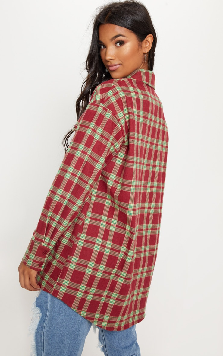 Burgundy Tartan Checked Oversized Shirt 2