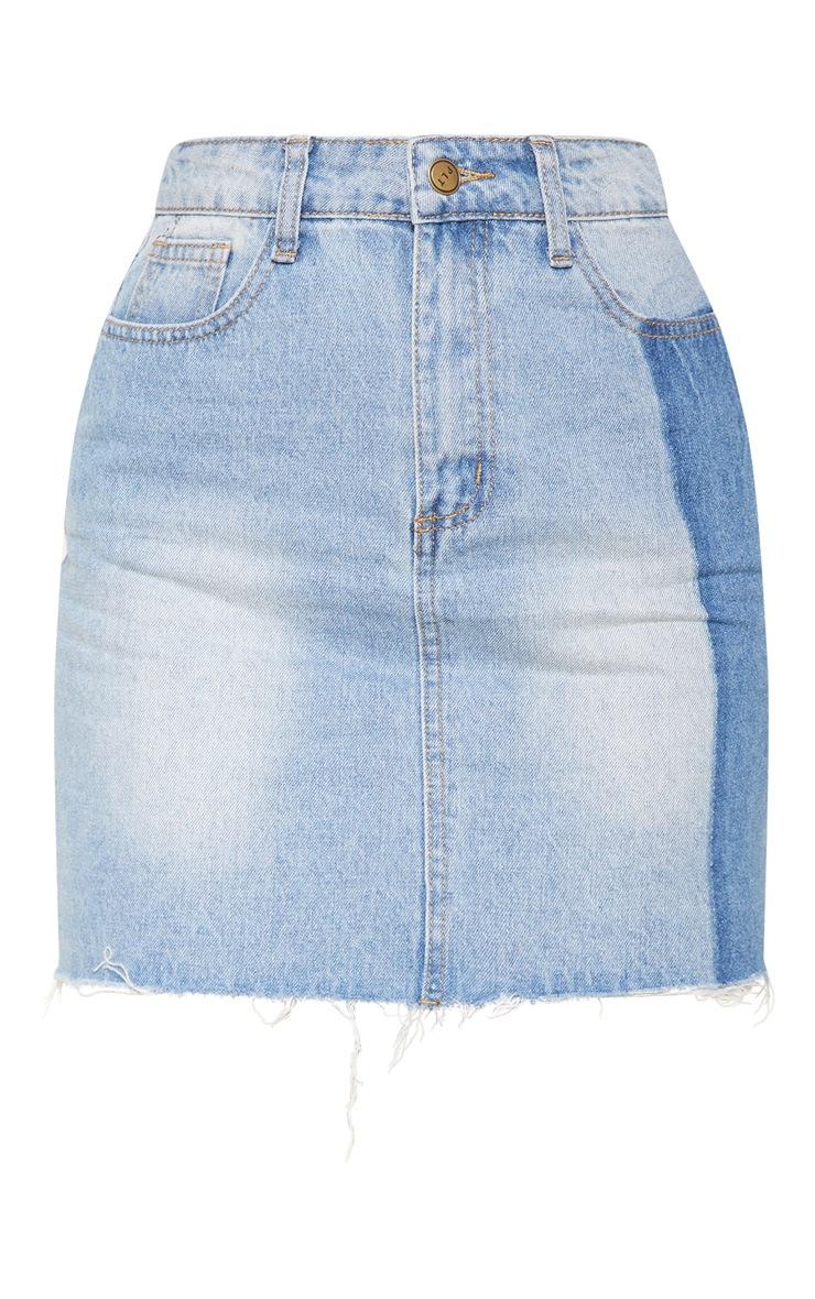 Light Wash Stripe Detail Mini Skirt 3