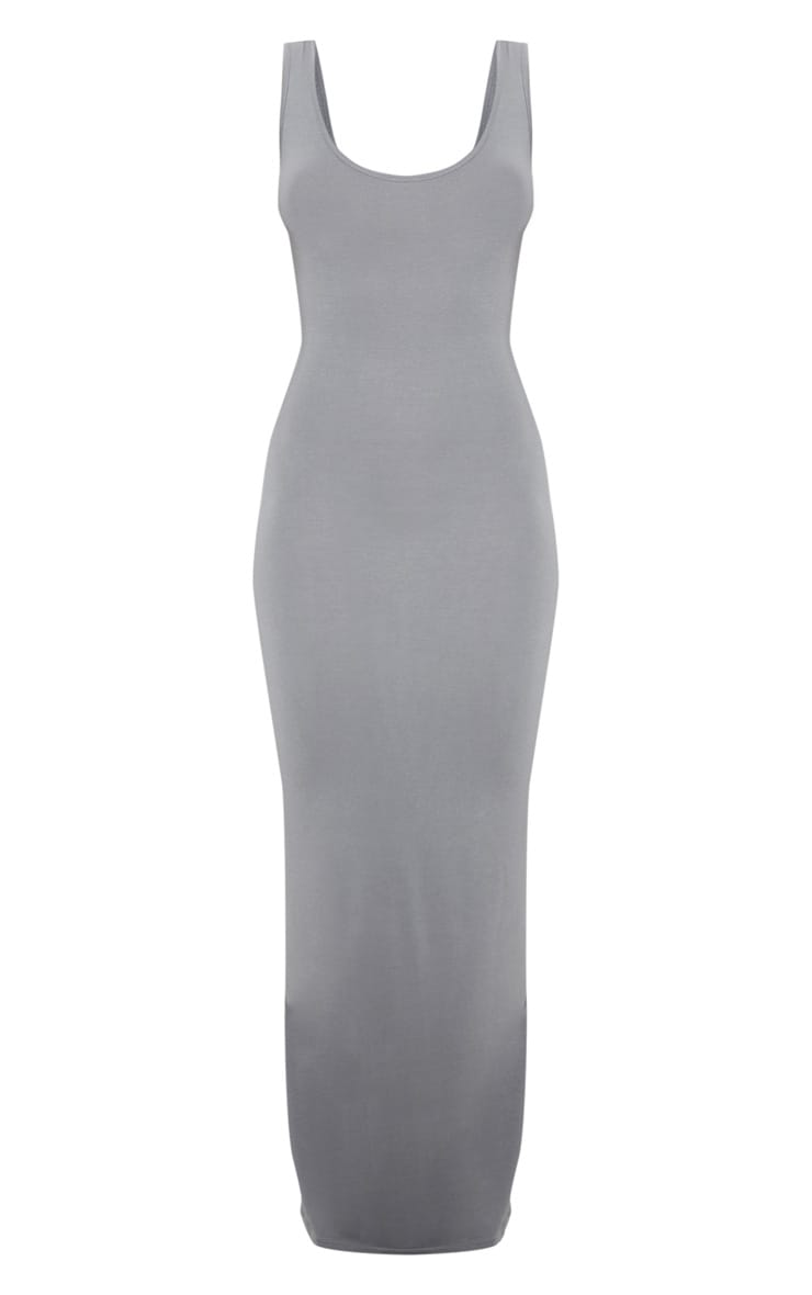 Charcoal Grey Basic Maxi Dress 3