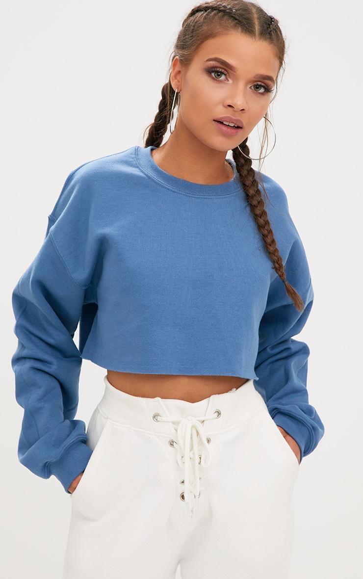 Recycled Dusty Blue Crop Oversized Sweatshirt 1