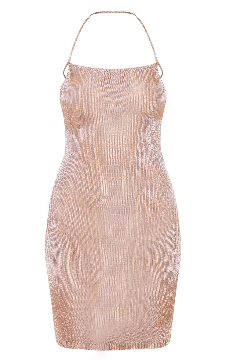 Charlay Sheer Bronze Metallic Knitted Halterneck Dress 3