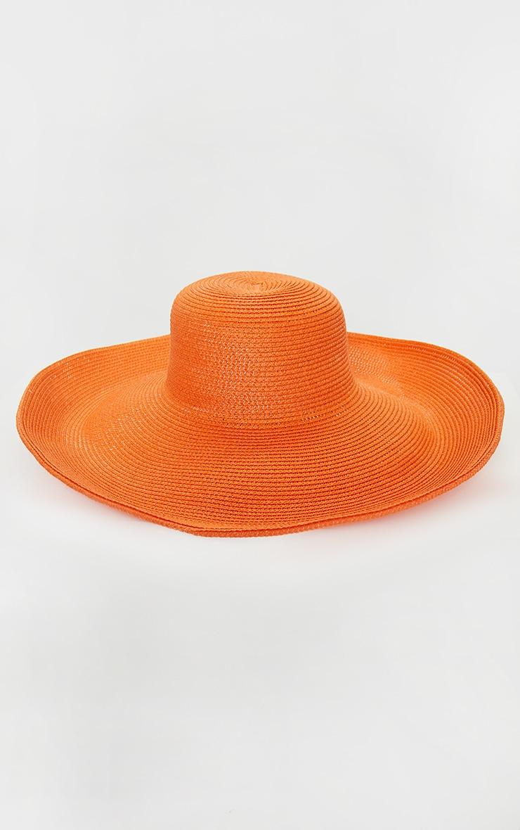 Chapeau de paille orange à larges bords souples 2