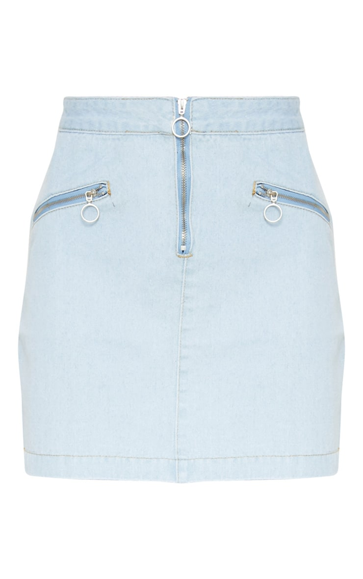 Bleach Wash Ring Pull Denim Mini Skirt 3
