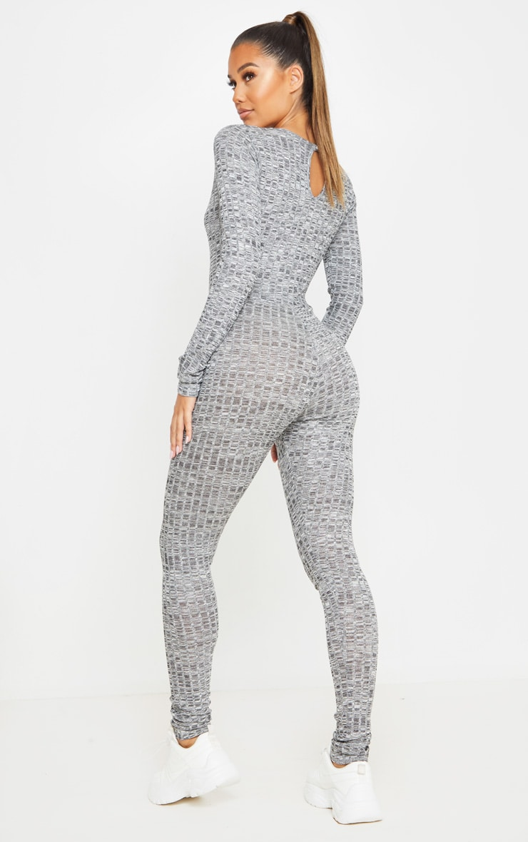 Dark Grey Open Neck Fitted Jumpsuit 2