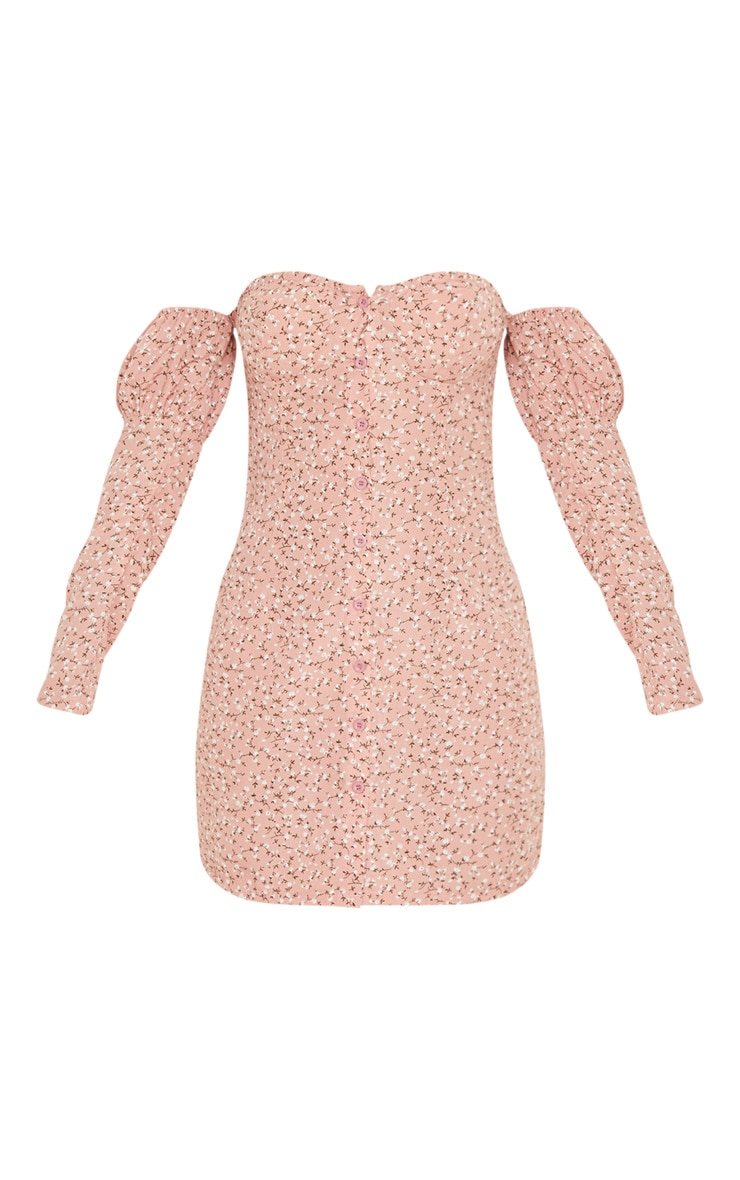 Pink Ditsy Floral Cup Detail Button Front Shift Dress 3