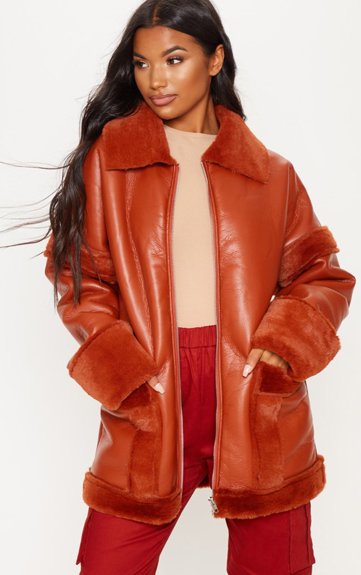 Rust Faux Fur Trim Oversized Jacket