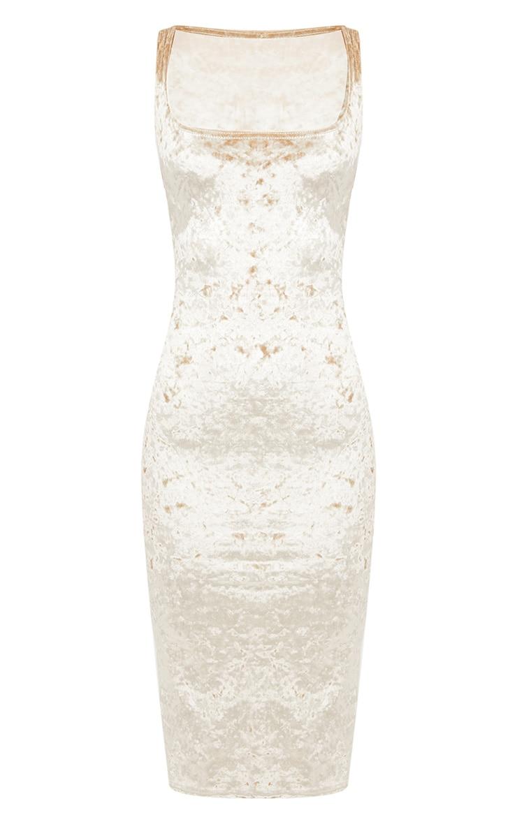 Champagne Square Neck Velvet Midaxi Dress 3