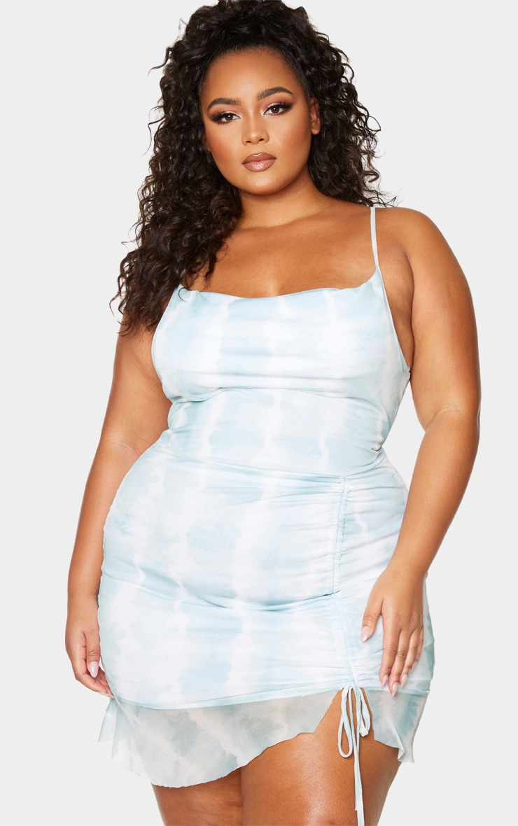 Plus Teal Tie Dye Ruched Bodycon Dress 3