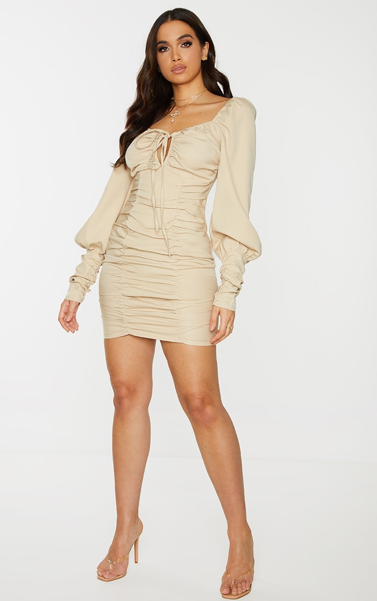 Stone Woven Tie Front Detail Ruched Cuff Bodycon Dress 3