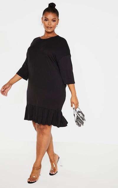 Plus Black Jersey Frill Detail Shift Dress