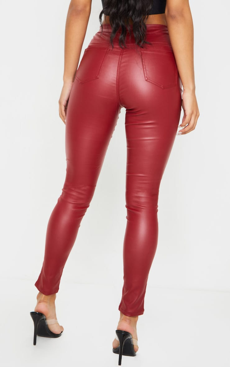 Burgundy Biker Detail Coated Skinny Jean 3