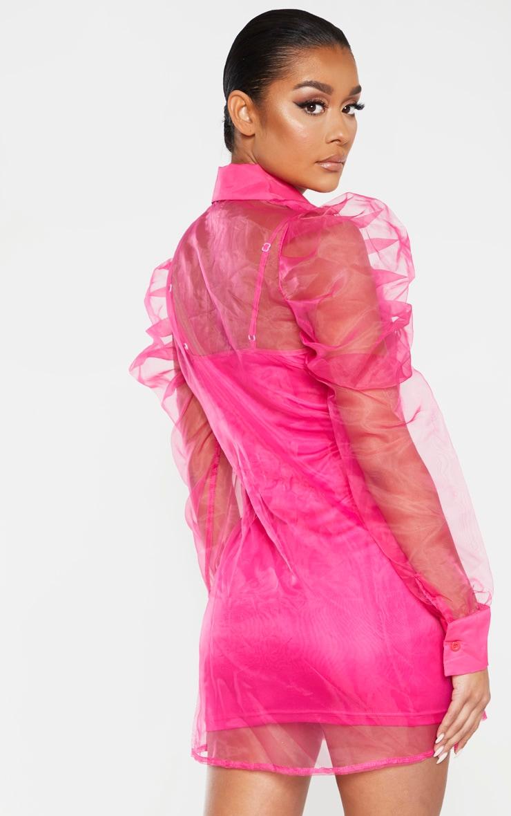 Hot Pink Puff Shoulder Organza Shirt Dress 2