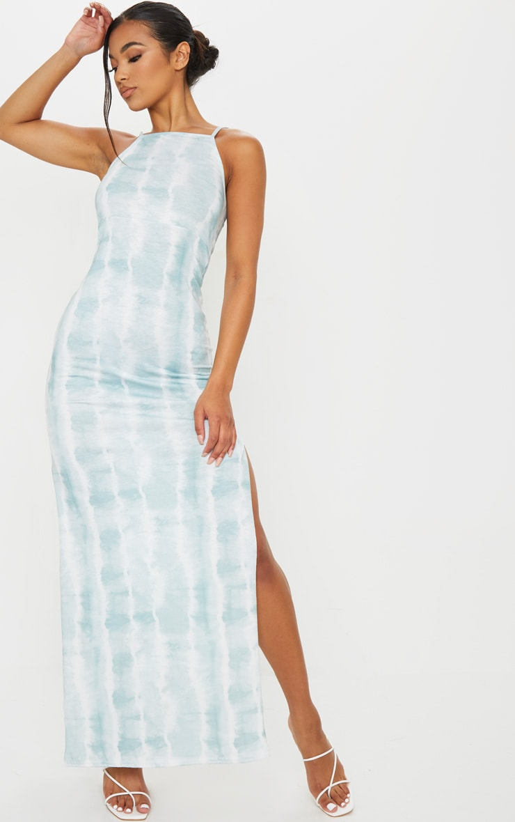 Teal Tie Dye Racer Neck Low Back Maxi Dress 1