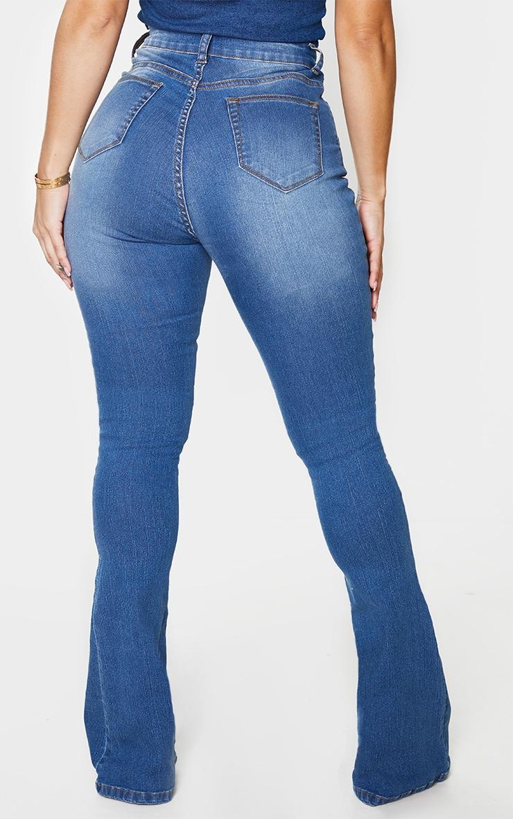 Shape Mid Blue Wash High Waist Skinny Flared Jeans 3